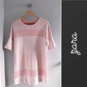 Zara Pink Textured T-Shirt Shift Dress • M